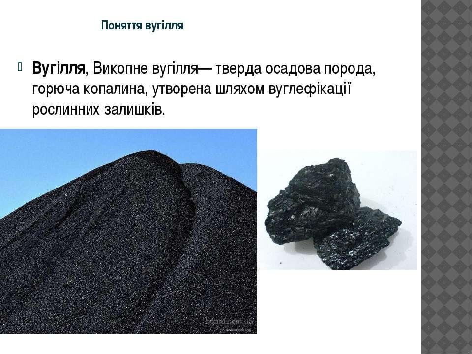 Поняття вугілля Вугілля, Викопне вугілля— тверда осадова порода, горюча копал...
