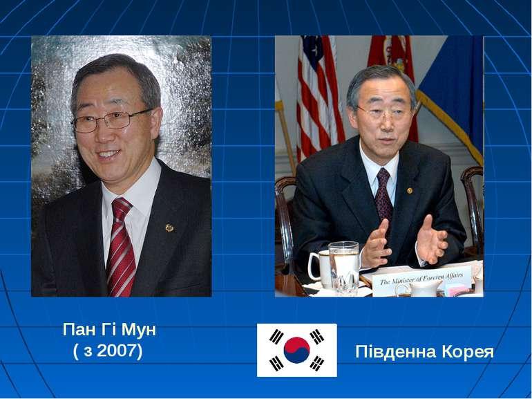 Пан Гі Мун ( з 2007) Південна Корея