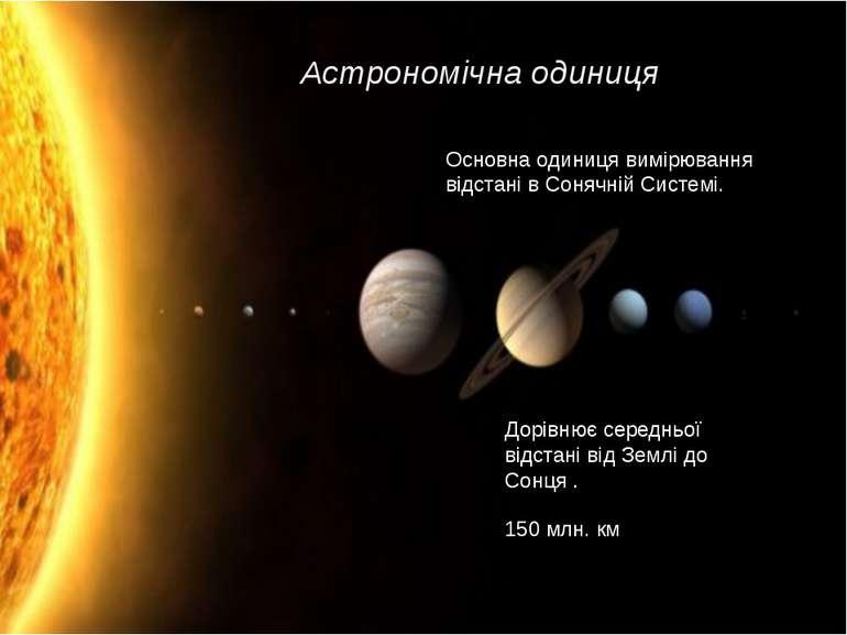 Астрономічна одиниця Основна одиниця вимірювання відстані в Сонячній Системі....