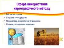 Сфера використання картографічного методу Військова справа Сільське господарс...