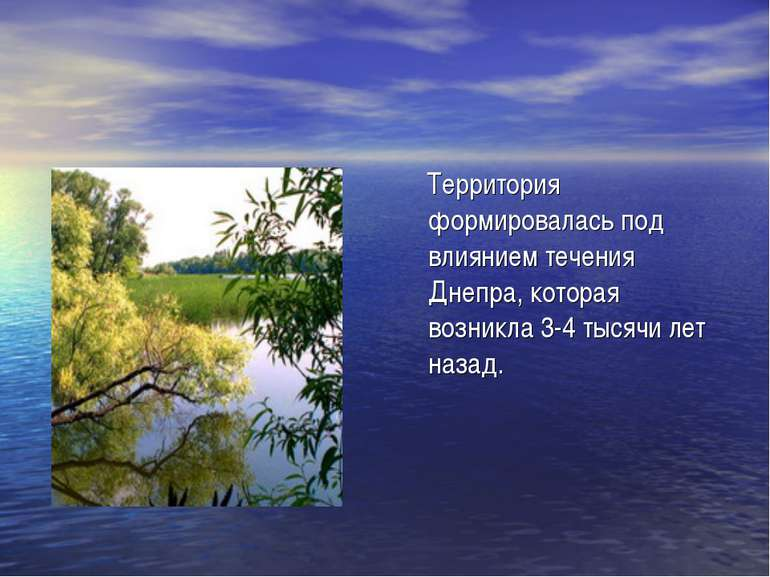 Территория формировалась под влиянием течения Днепра, которая возникла 3-4 ты...
