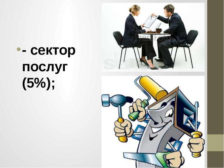 - сектор послуг (5%);