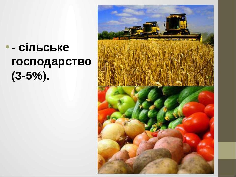 - сільське господарство (3-5%).