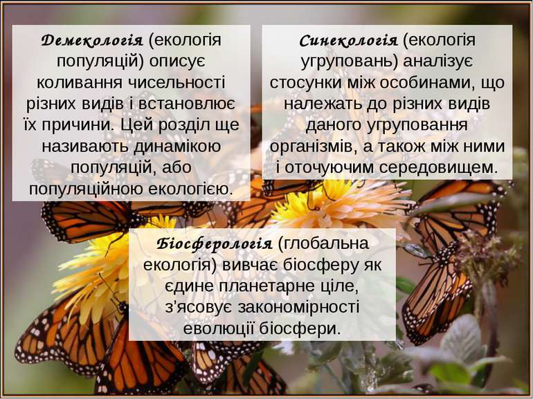 Демекологія (екологія популяцій) описує коливання чисельності різних видів і ...
