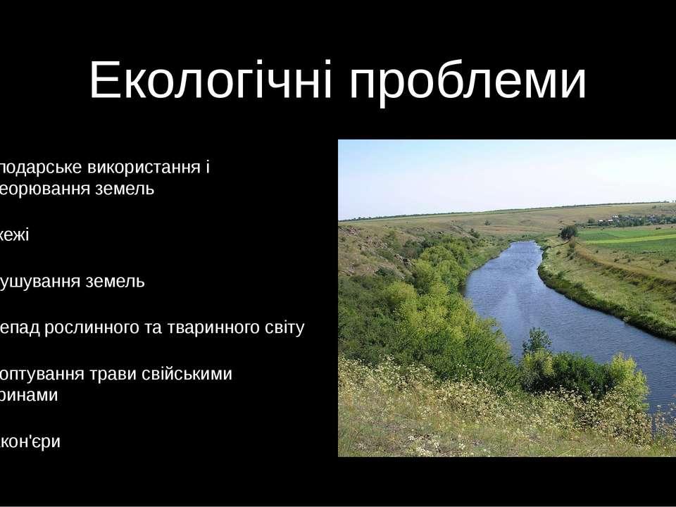 Екологічні проблеми Господарське використання і переорювання земель Пожежі Ви...