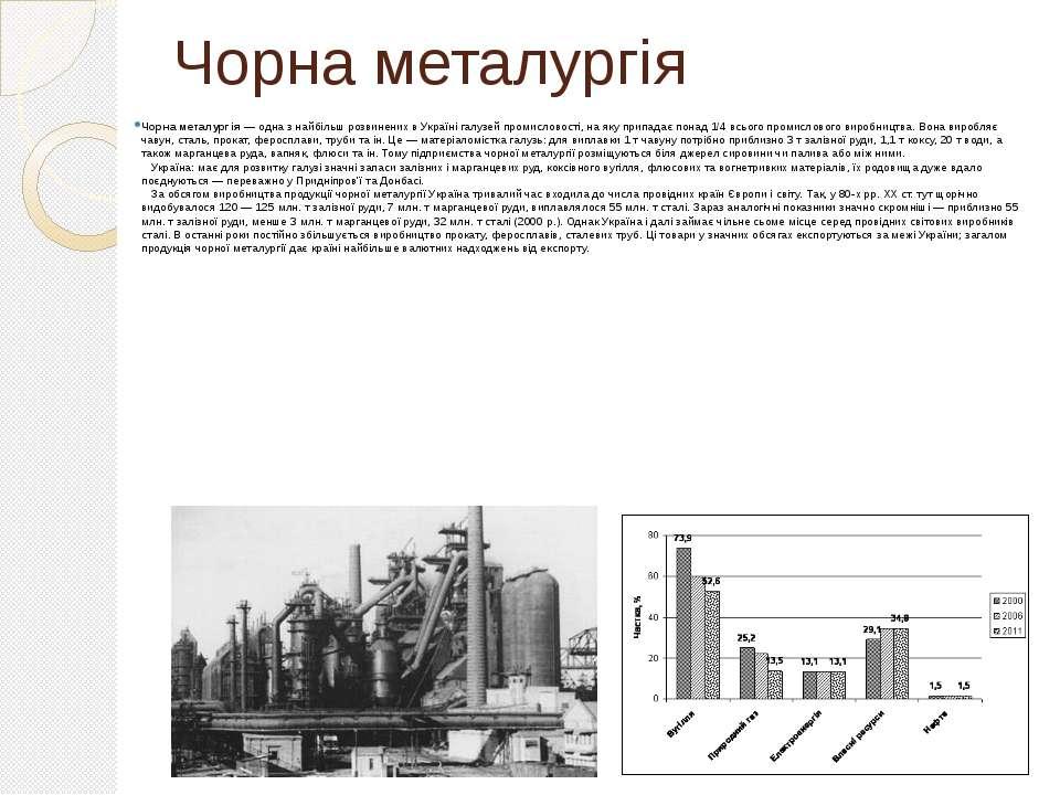 Чорна металургія Чорна металургія — одна з найбільш розвинених в Україні галу...