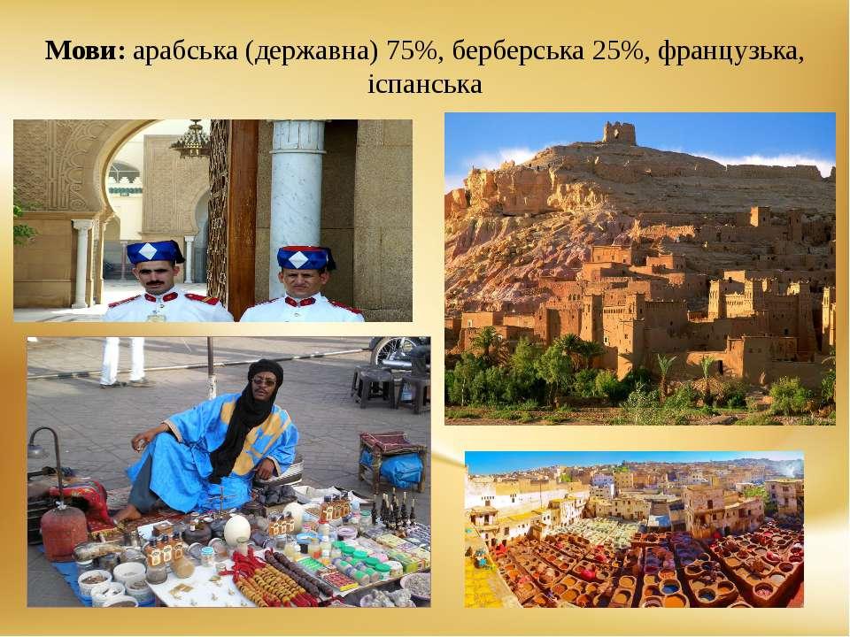 Мови: арабська (державна) 75%, берберська 25%, французька, іспанська