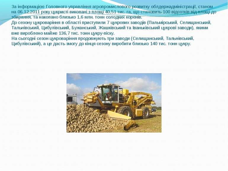 За інформацією Головного управління агропромислового розвитку облдержадмініст...