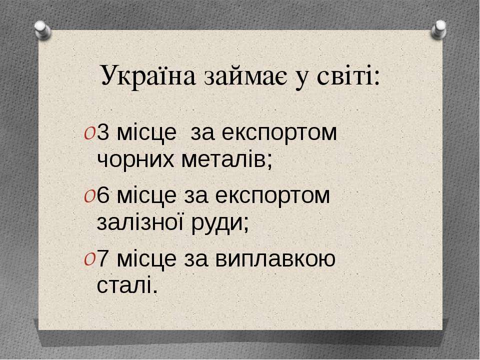 Україна займає у свiтi: 3 мiсце за експортом чорних металiв; 6 мiсце за експо...