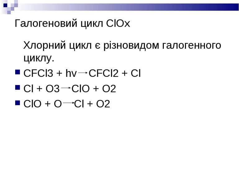 Галогеновий цикл ClOx Хлорний цикл є різновидом галогенного циклу. СFCl3 + hv...