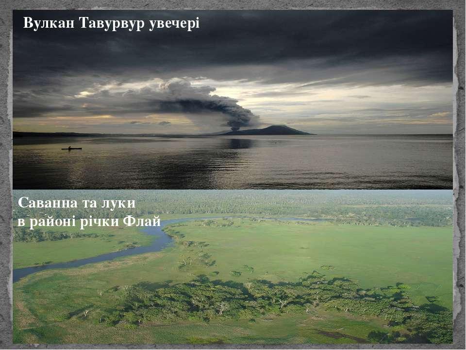 Вулкан Тавурвур увечері Саванна та луки в районі річки Флай