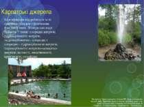 Карпатські джерела Класифікація вод робиться за їх хімічним складом і фізични...