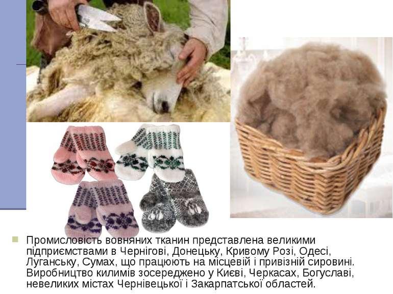Промисловість вовняних тканин представлена великими підприємствами в Чернігов...