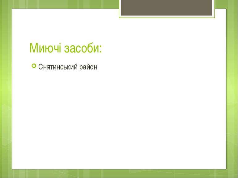 Миючі засоби: Снятинський район.