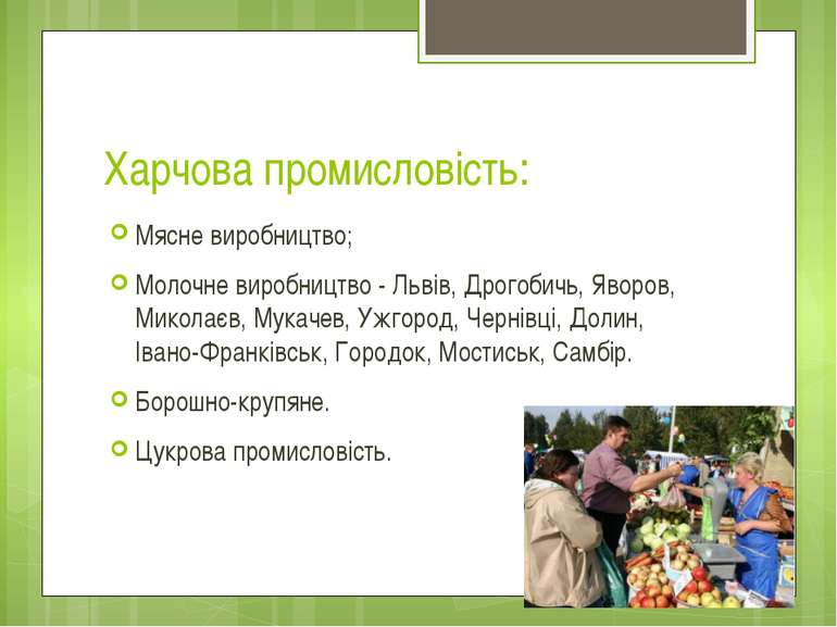 Харчова промисловість: Мясне виробництво; Молочне виробництво - Львів, Дрогоб...