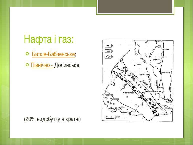 Нафта і газ: Битків-Бабченське; Північно - Долинське. (20% видобутку в країні)