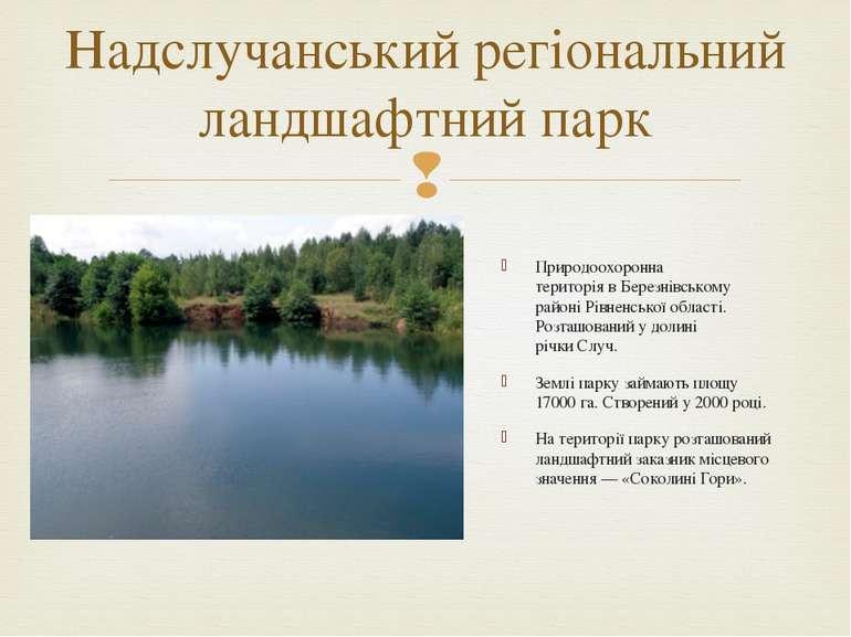 Природоохоронна територіявБерезнівському районіРівненської області. Розташ...