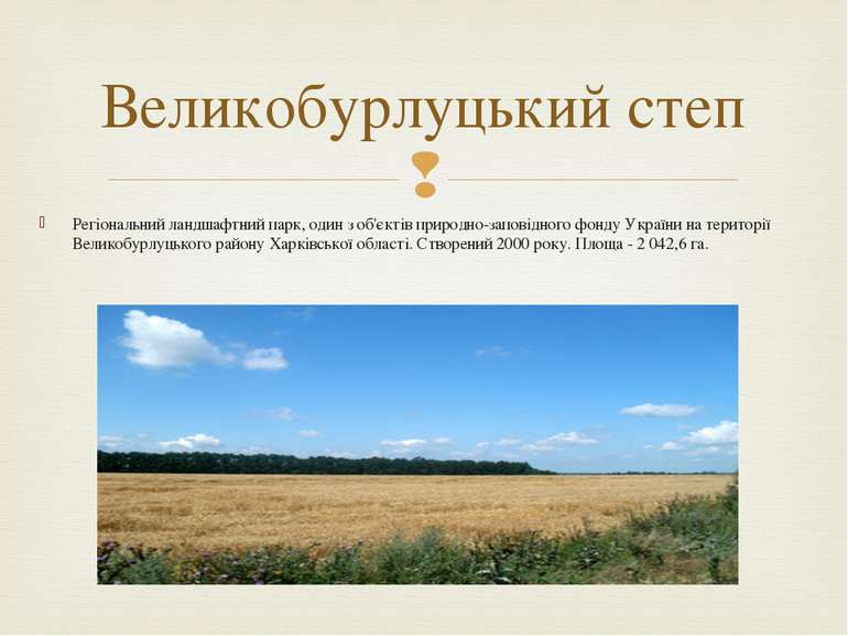 Регіональний ландшафтний парк, один з об'єктівприродно-заповідного фонду Укр...