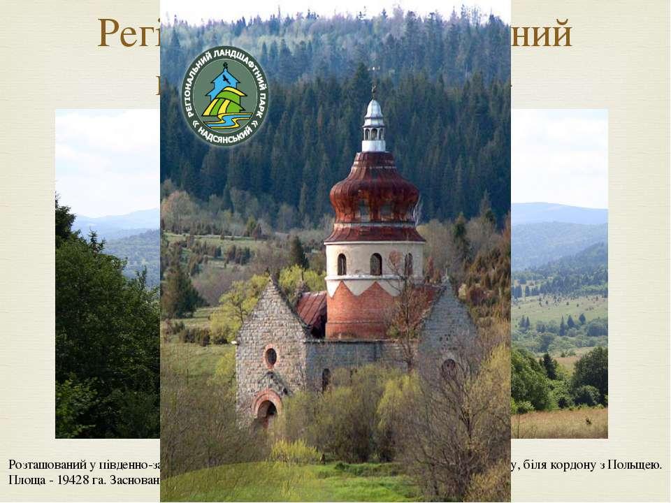 Регіональний ландшафтний парк «Надсянський» Розташований у південно-західній ...