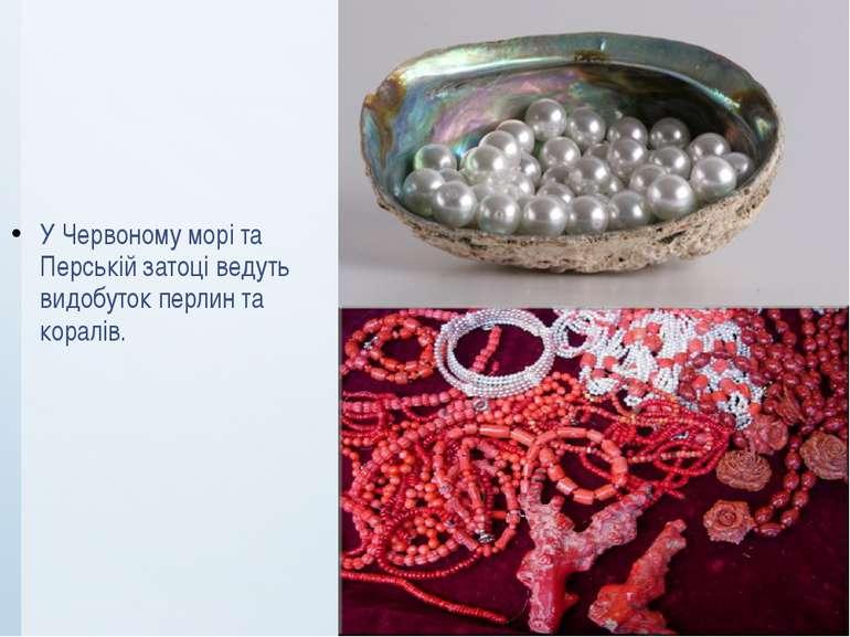У Червоному морі та Перській затоці ведуть видобуток перлин та коралів.
