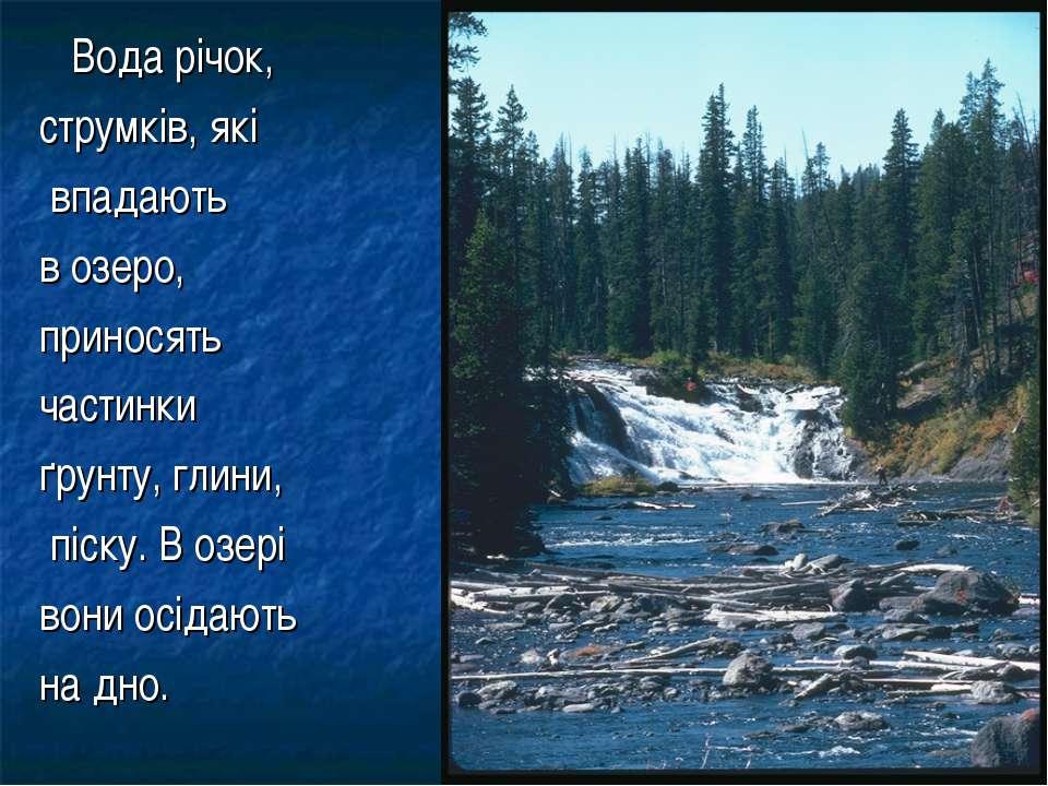 Вода річок, струмків, які впадають в озеро, приносять частинки ґрунту, глини,...