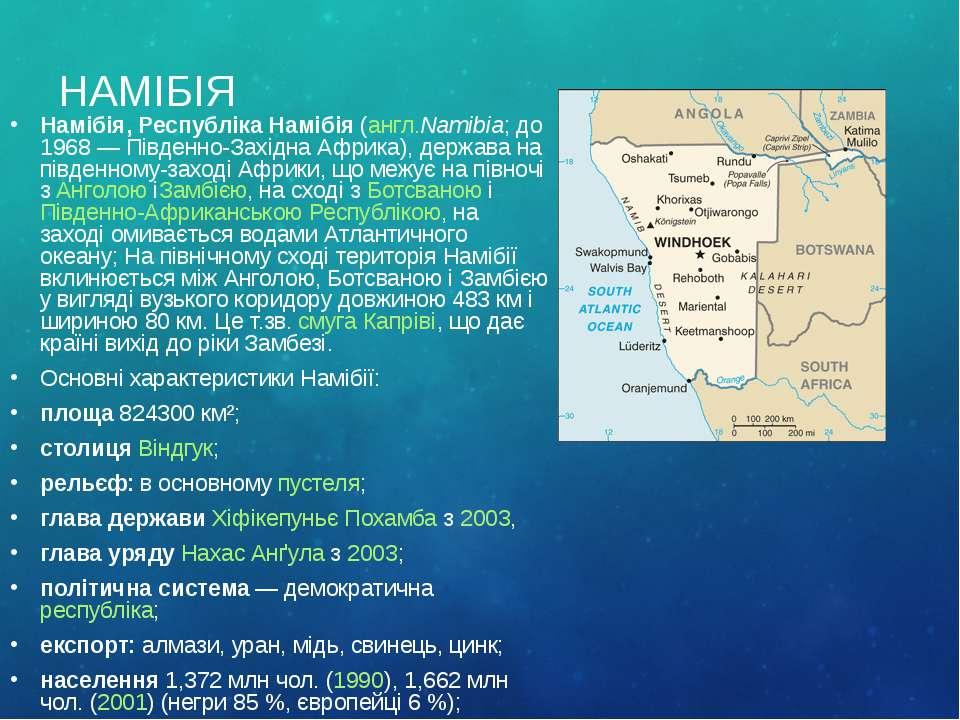 НАМІБІЯ Намібія, Республіка Намібія(англ.Namibia; до 1968— Південно-Західна...