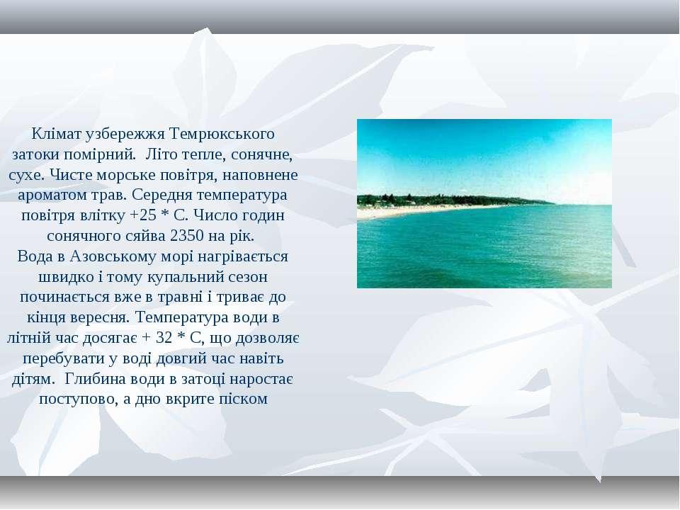 Клімат узбережжя Темрюкського затоки помірний. Літо тепле, сонячне, сухе. Чис...
