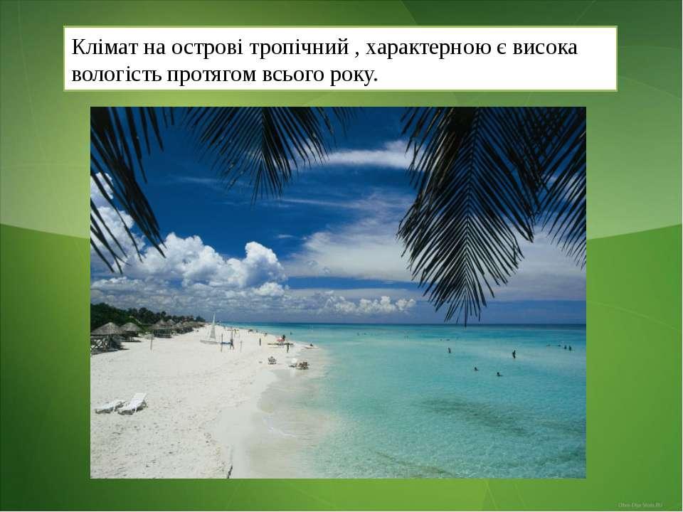Клімат на острові тропічний , характерною є висока вологість протягом всього ...