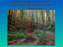 Загальна площа лісів в Україні — понад 10 млн га, що становить 17,2% її терит...