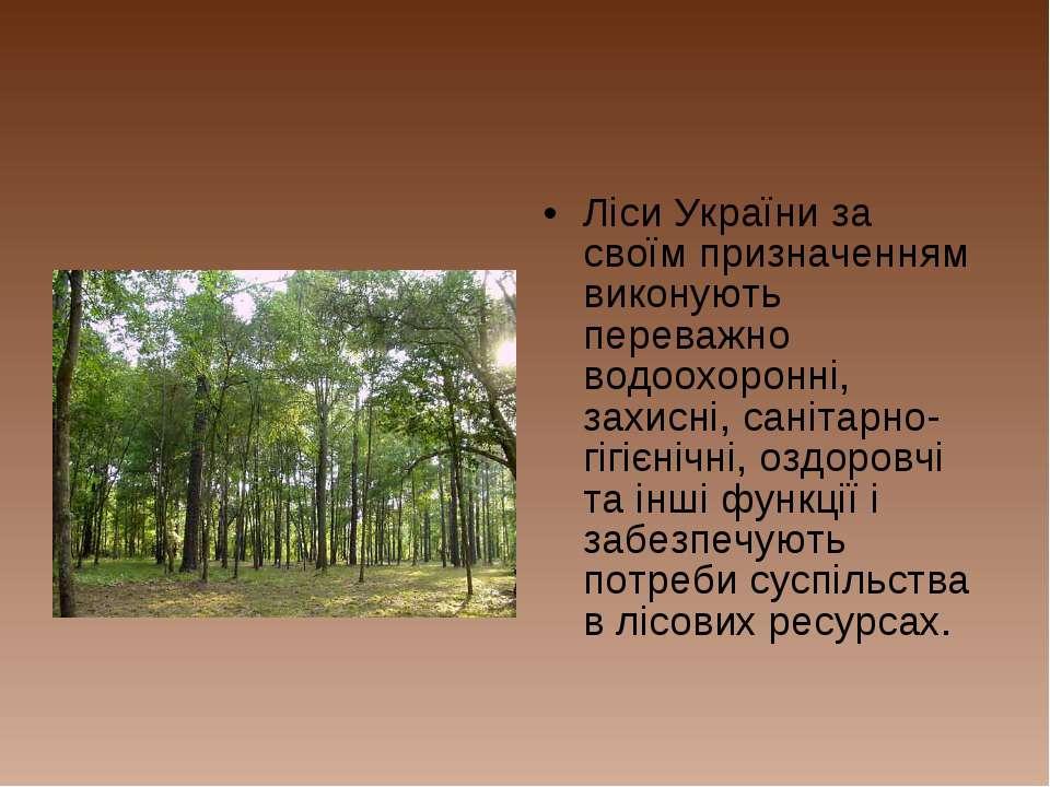 Ліси України за своїм призначенням виконують переважно водоохоронні, захисні,...