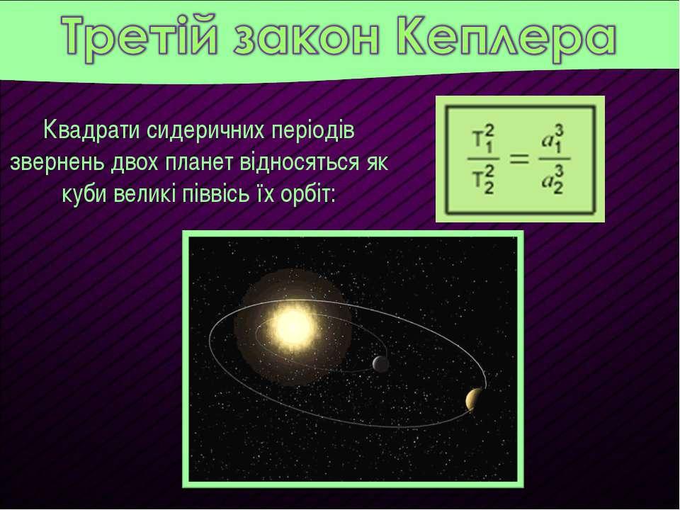 Квадрати сидеричних періодів звернень двох планет відносяться як куби великі ...