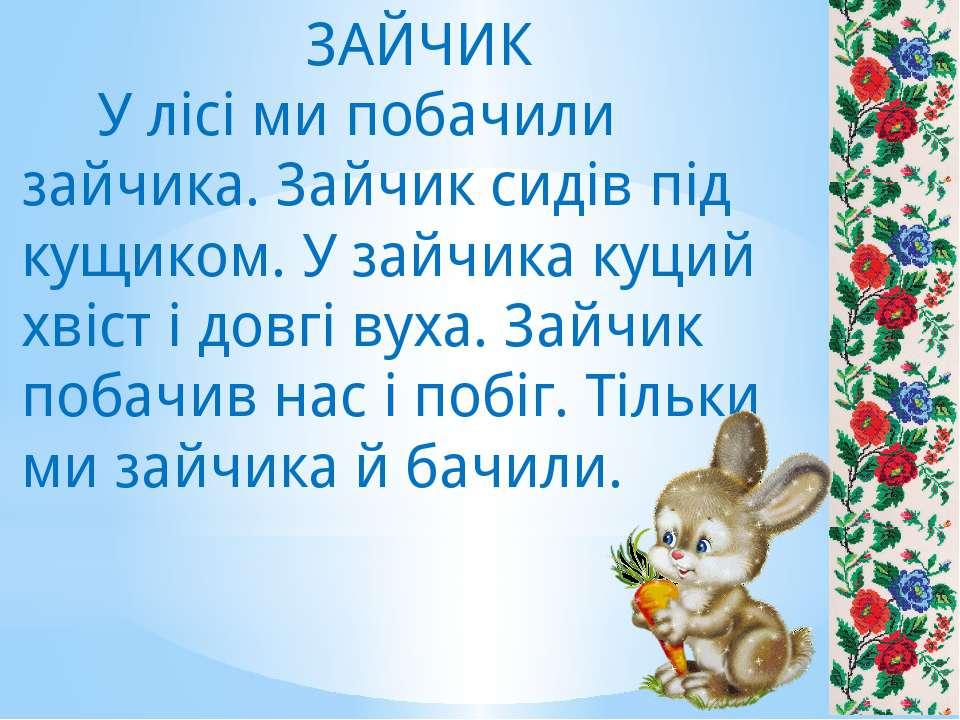 ЗАЙЧИК У лісі ми побачили зайчика. Зайчик сидів під кущиком. У зайчика куций ...