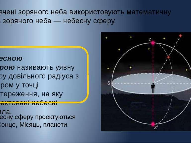 Небесною сфероюназивають уявну сферу довільного радіуса з центром у точці сп...
