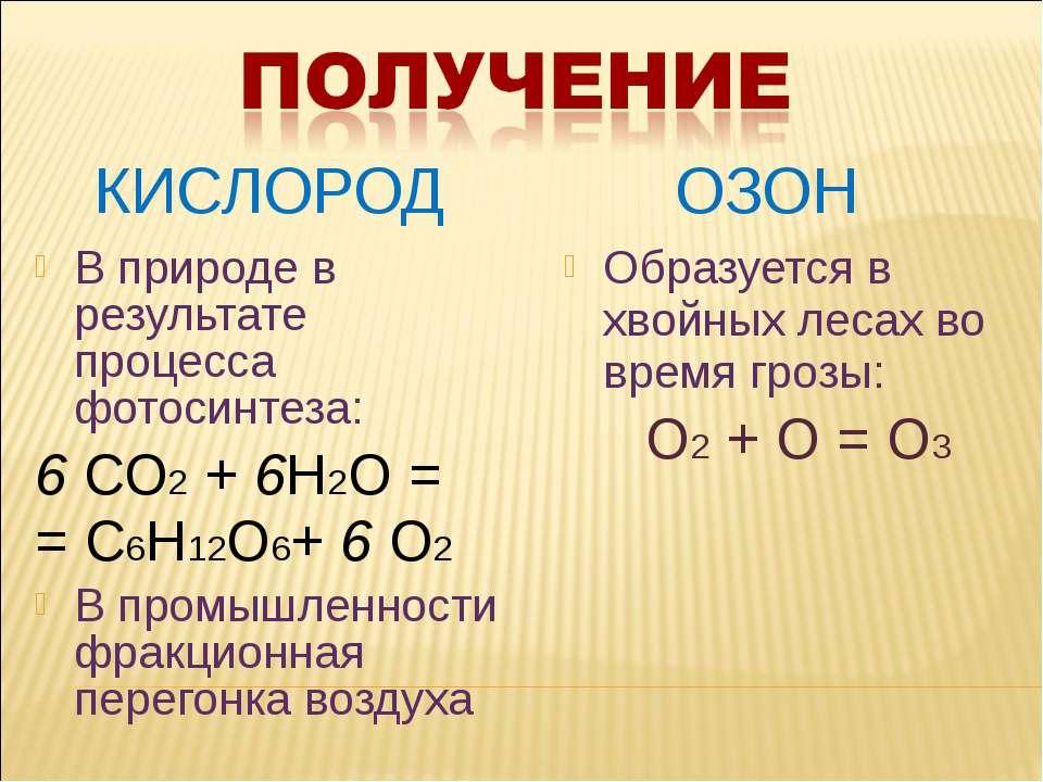 КИСЛОРОД ОЗОН В природе в результате процесса фотосинтеза: 6 СО2 + 6Н2О = = С...