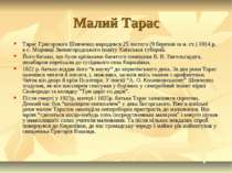 Малий Тарас Тарас Григорович Шевченко народився 25 лютого (9 березня за н. ст...
