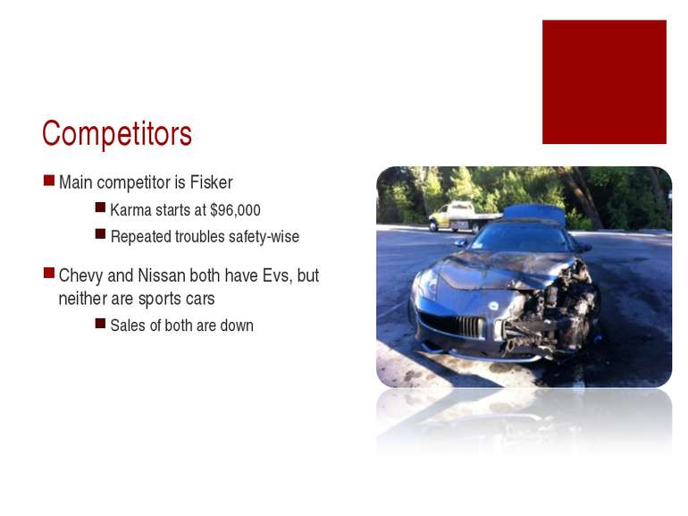 Competitors Main competitor is Fisker Karma starts at $96,000 Repeated troubl...