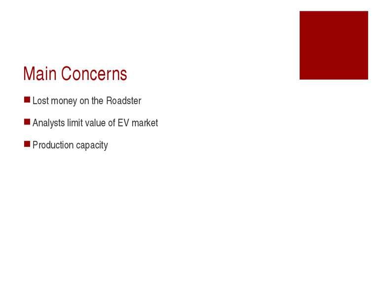 Main Concerns Lost money on the Roadster Analysts limit value of EV market Pr...