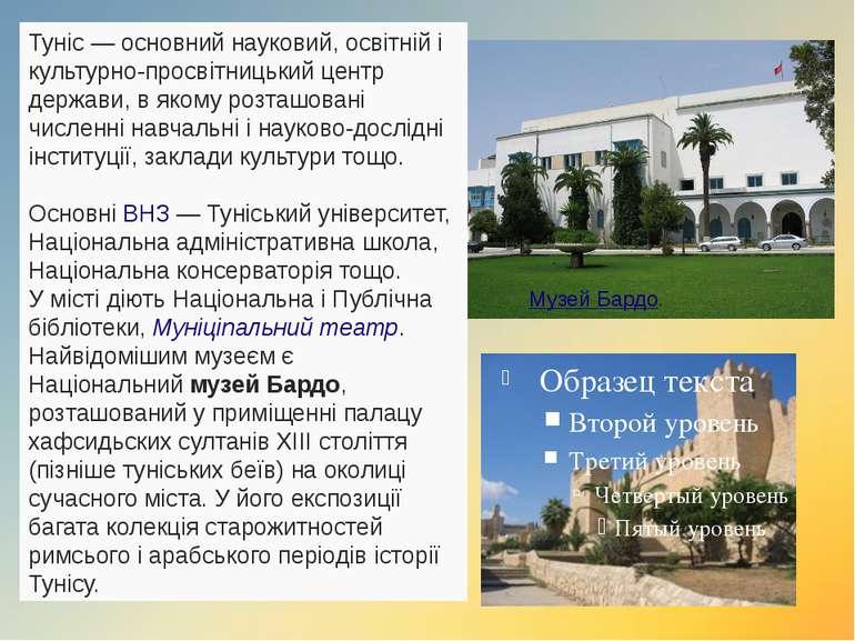 Туніс— основний науковий, освітній і культурно-просвітницький центр держави,...