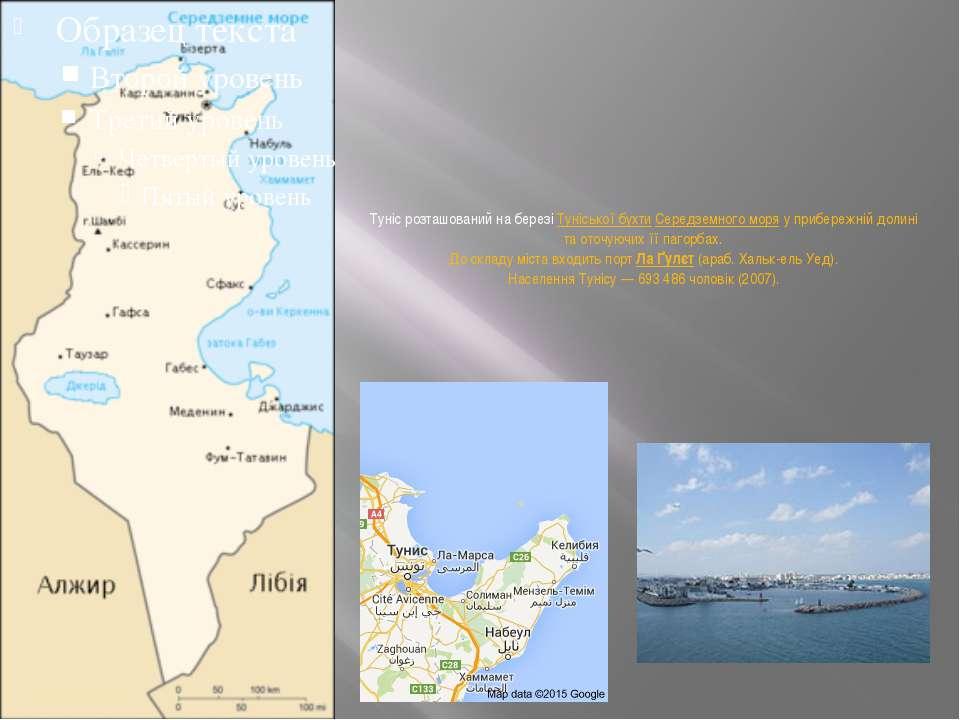 Туніс розташований на березіТуніської бухтиСередземного моряу прибережній ...