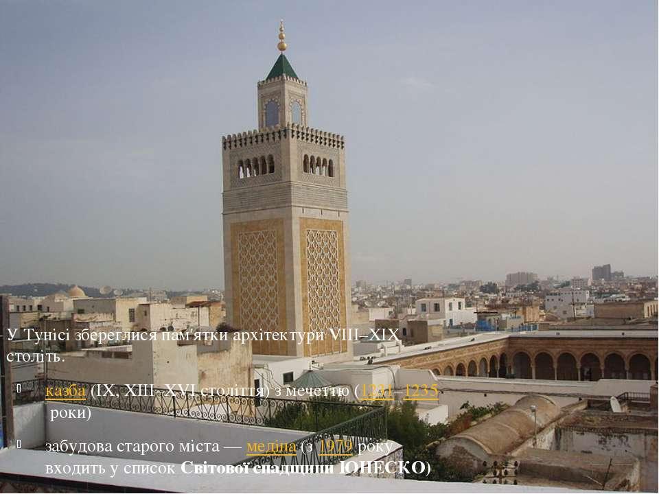 У Тунісі збереглися пам'ятки архітектури VIII–XIX століть. казба(IX, XIII–XV...