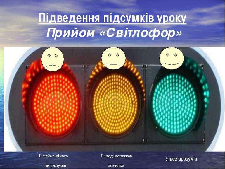 Підведення підсумків уроку Прийом «Світлофор» Я все зрозумів помилки не зрозу...
