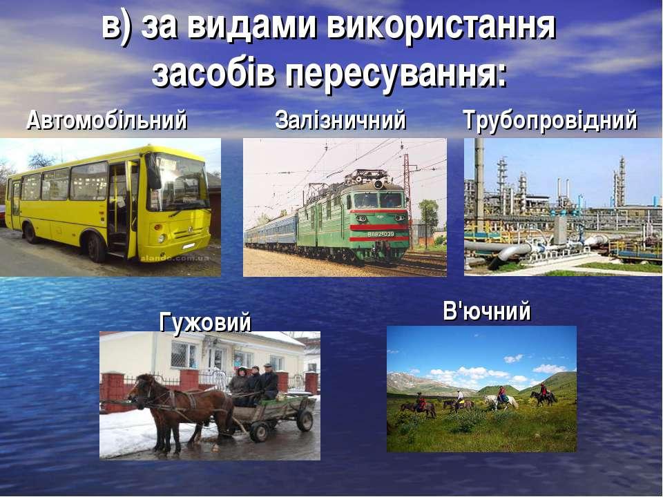 в) за видами використання засобів пересування: Гужовий Автомобільний Залізнич...