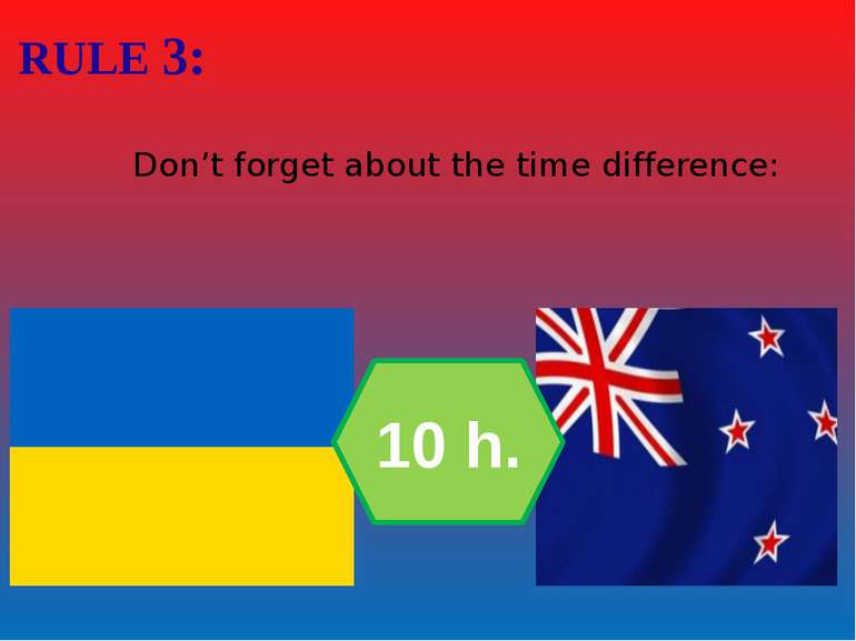Don't forget about the time difference: RULE 3: 10 h.