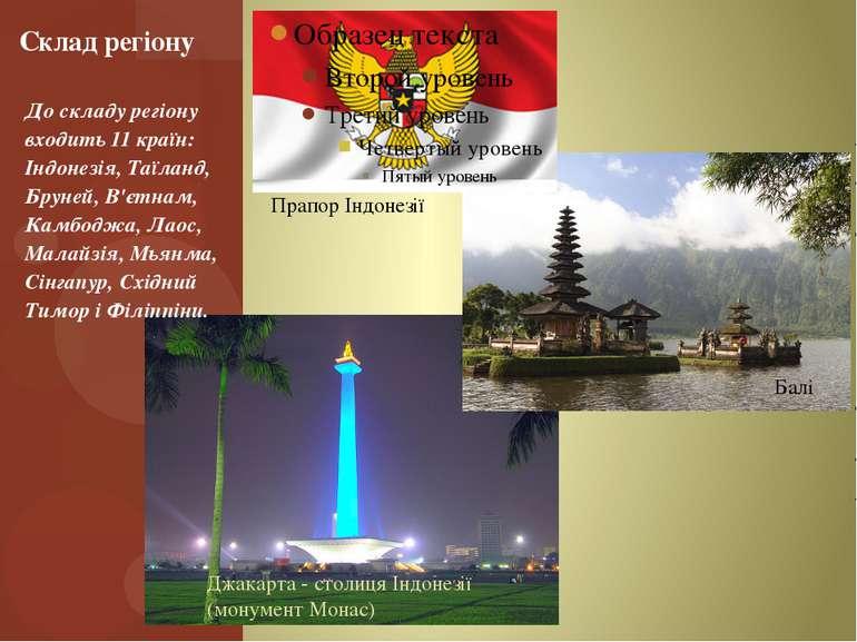 До складу регіону входить 11 країн: Індонезія, Таїланд, Бруней, В'єтнам, Камб...