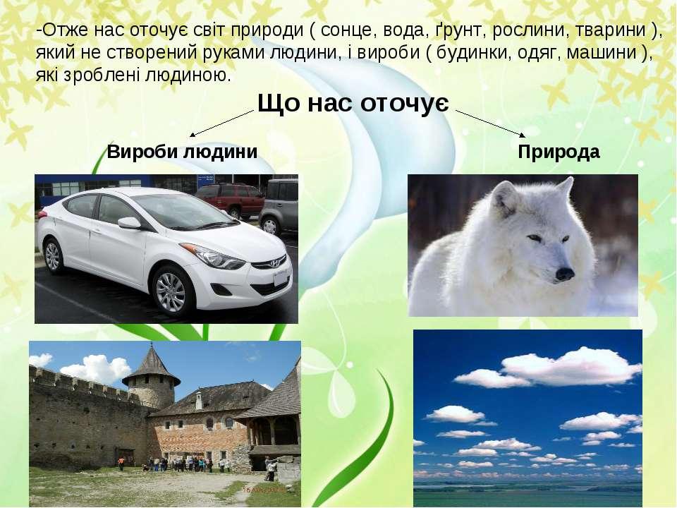 Отже нас оточує світ природи ( сонце, вода, ґрунт, рослини, тварини ), який н...