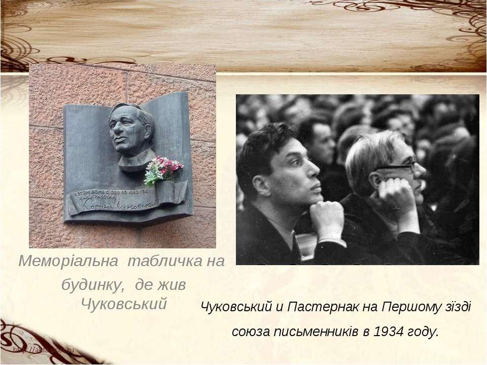 Меморіальна табличка на будинку, де жив Чуковський Чуковський и Пастернак на ...