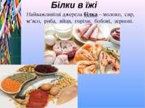 Білки в їжі Найважливіші джерела білка – молоко, сир, м'ясо, риба, яйця, горі...