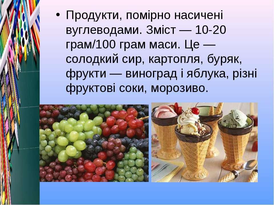 Продукти, помірно насичені вуглеводами. Зміст — 10-20 грам/100 грам маси. Це ...