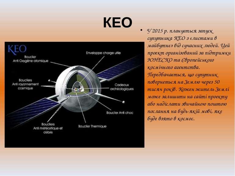 КЕО У 2015 р. планується запуск супутника KEO з «листами в майбутнє» від суча...