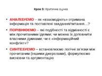 Крок 5: Критична оцінка АНАЛІЗУЄМО – як «взаємодіють» отримана інформація та ...